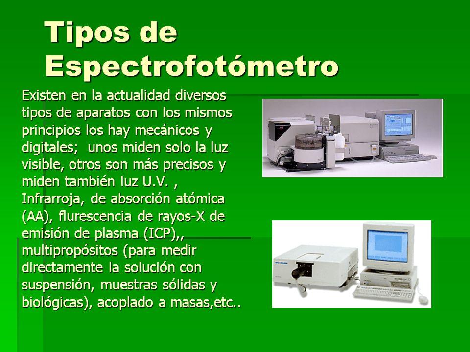 Tipos de Espectrofotómetro