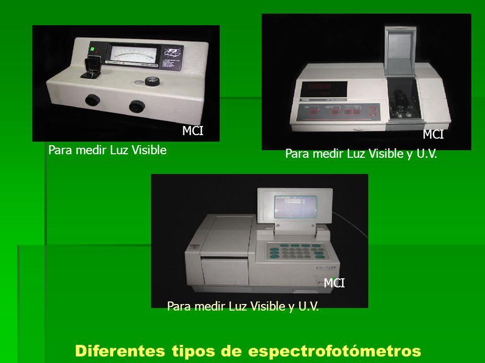 Diferentes tipos de espectrofotómetros
