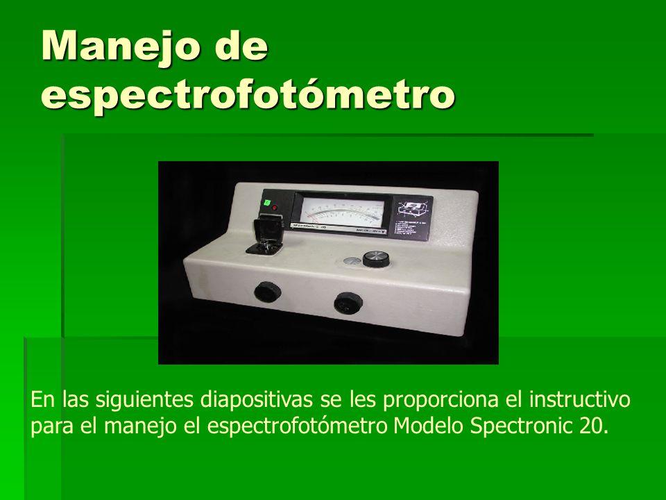 Manejo de espectrofotómetro