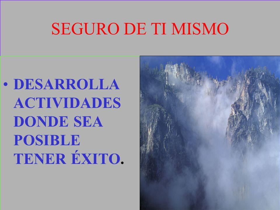 SEGURO DE TI MISMO DESARROLLA ACTIVIDADES DONDE SEA POSIBLE TENER ÉXITO.