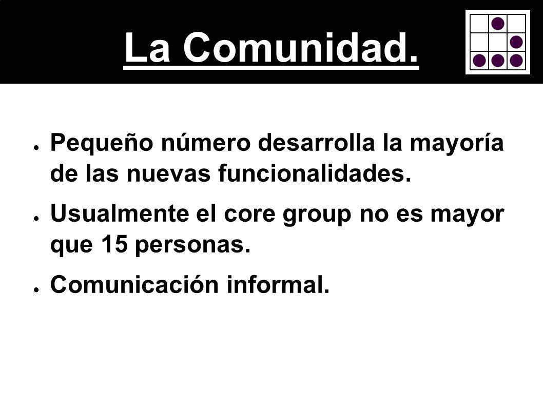 La Comunidad.Pequeño número desarrolla la mayoría de las nuevas funcionalidades. Usualmente el core group no es mayor que 15 personas.