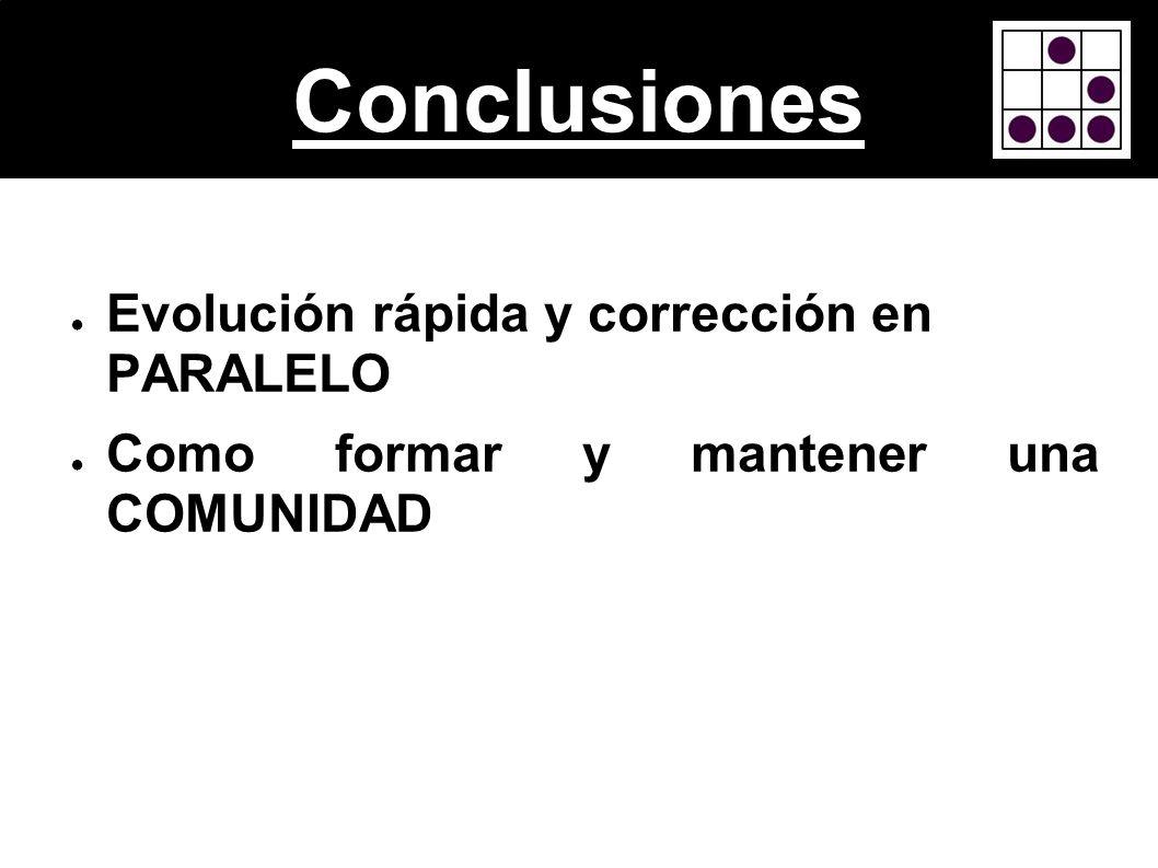 Conclusiones Evolución rápida y corrección en PARALELO