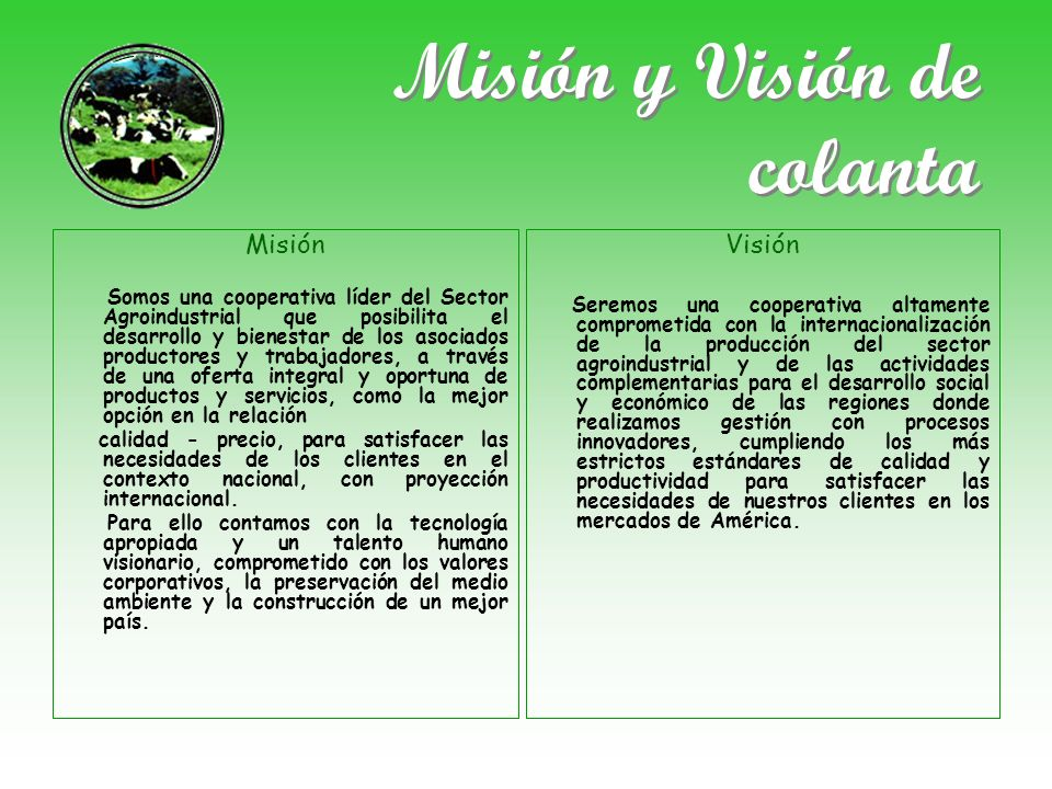 Misión y Visión de colanta