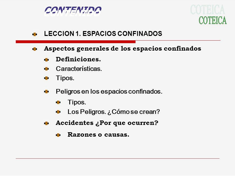 CONTENIDO CONTENIDO COTEICA LECCION 1. ESPACIOS CONFINADOS