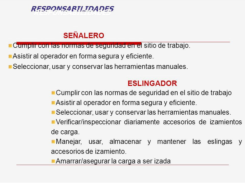 RESPONSABILIDADES SEÑALERO ESLINGADOR RESPONSABILIDADES