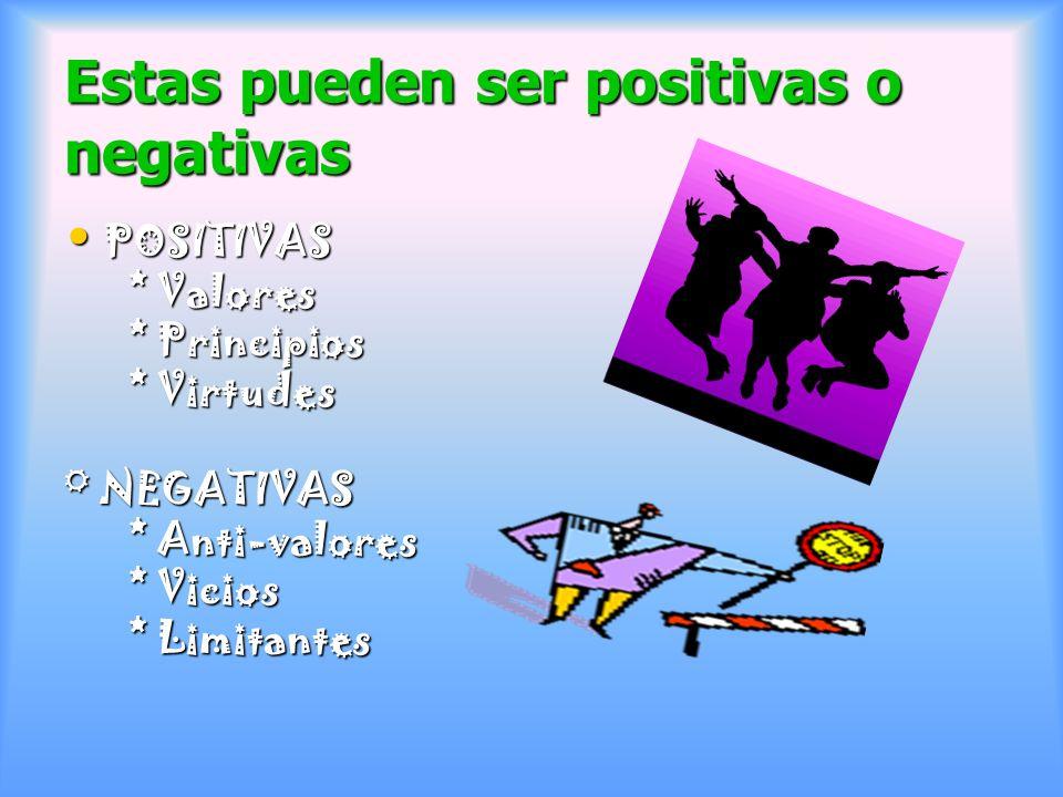 Estas pueden ser positivas o negativas