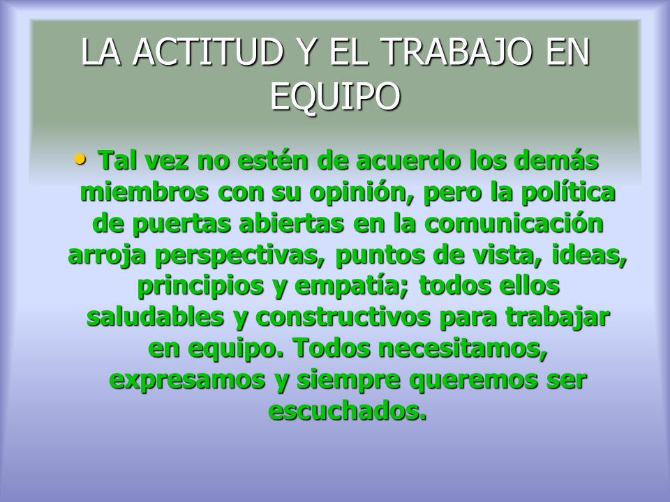 LA ACTITUD Y EL TRABAJO EN EQUIPO