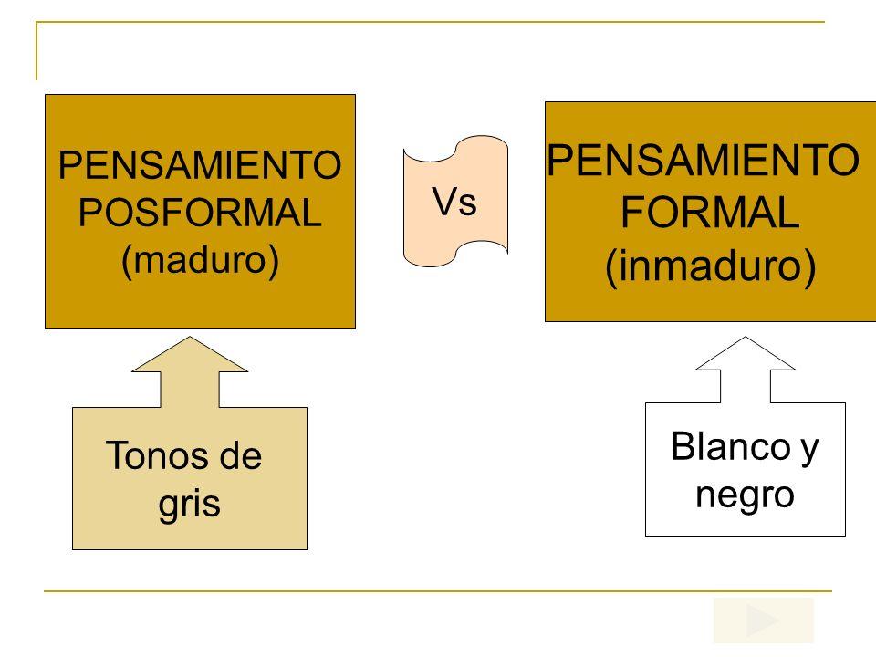 PENSAMIENTO FORMAL (inmaduro) PENSAMIENTO POSFORMAL Vs (maduro)