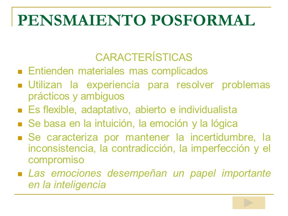 PENSMAIENTO POSFORMAL
