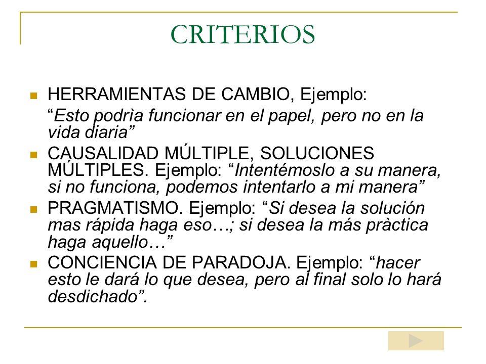 CRITERIOS HERRAMIENTAS DE CAMBIO, Ejemplo: