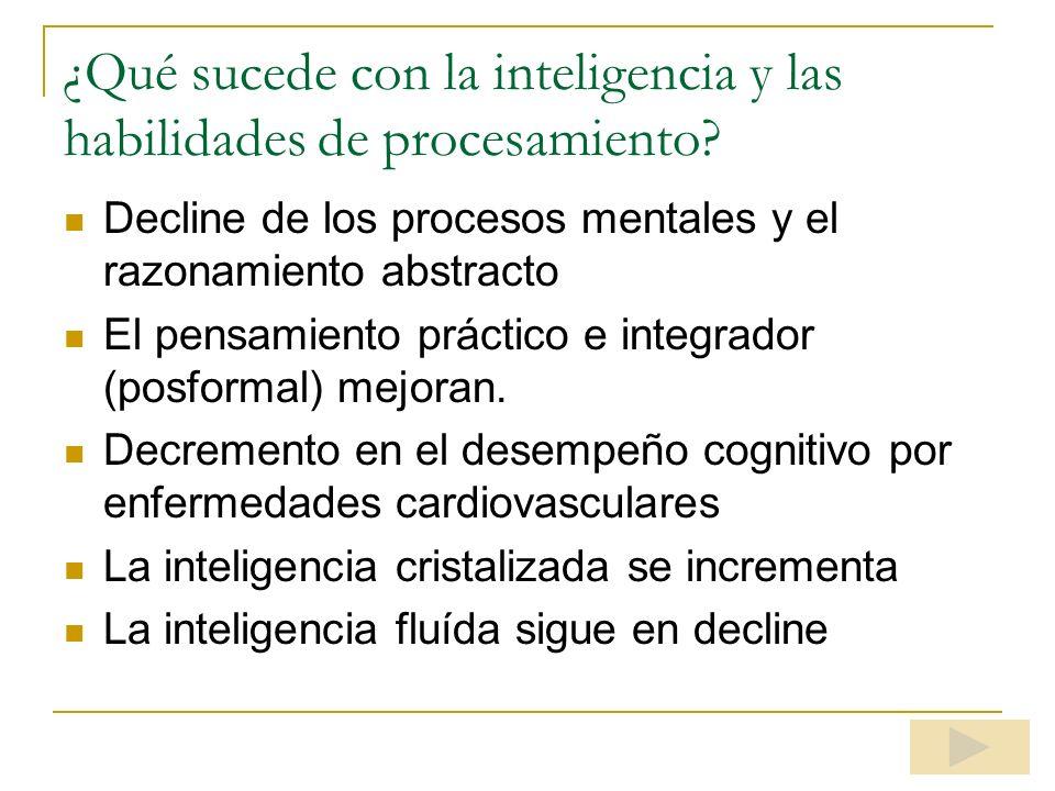 ¿Qué sucede con la inteligencia y las habilidades de procesamiento