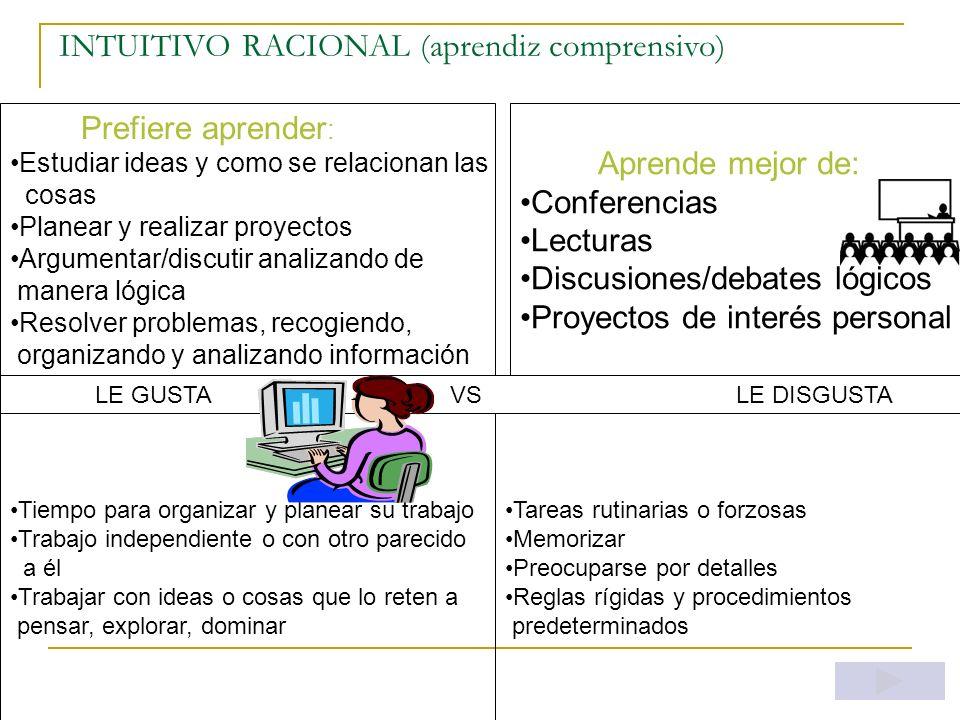 INTUITIVO RACIONAL (aprendiz comprensivo)