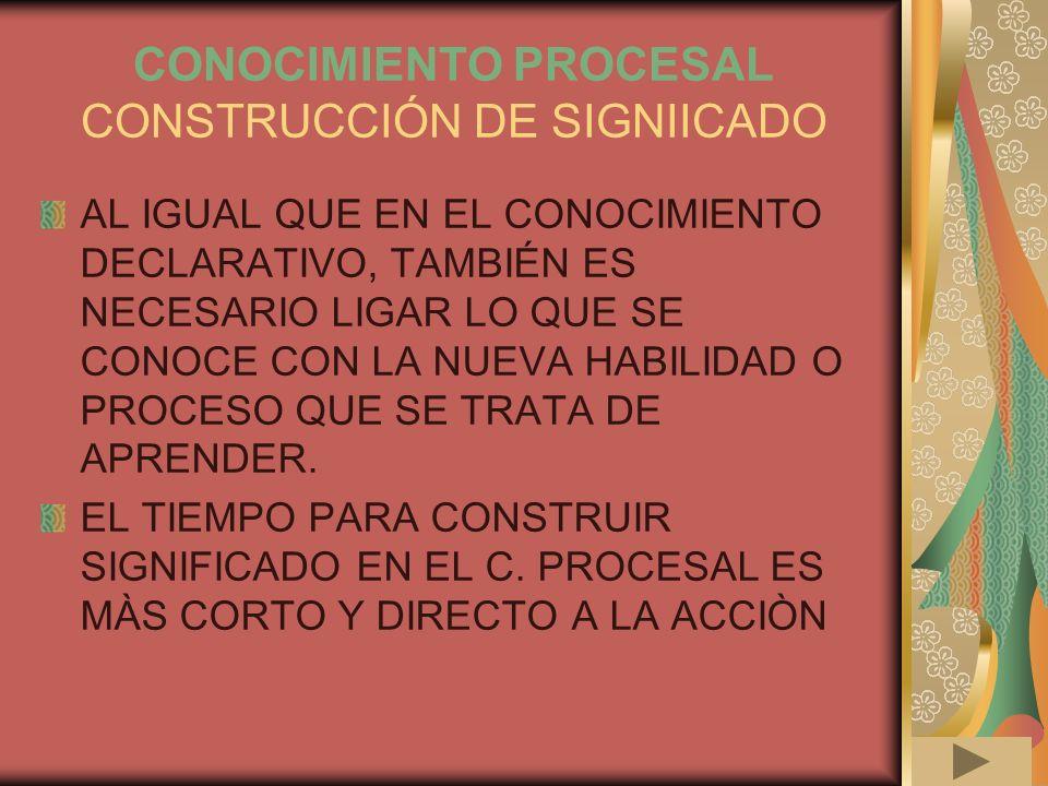 CONOCIMIENTO PROCESAL CONSTRUCCIÓN DE SIGNIICADO