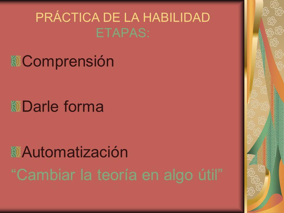 PRÁCTICA DE LA HABILIDAD ETAPAS: