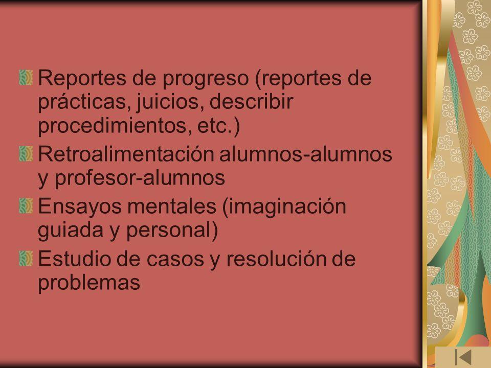 Reportes de progreso (reportes de prácticas, juicios, describir procedimientos, etc.)