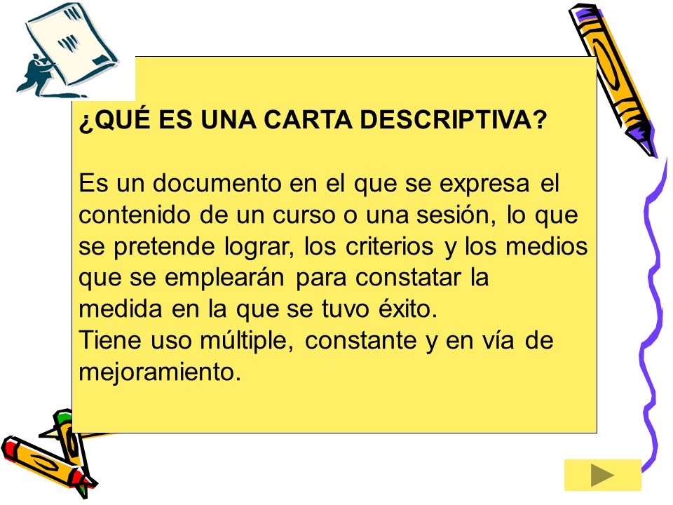 ¿QUÉ ES UNA CARTA DESCRIPTIVA