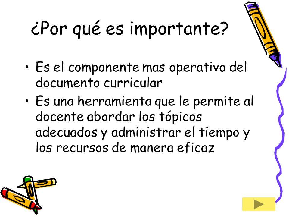 ¿Por qué es importante Es el componente mas operativo del documento curricular.