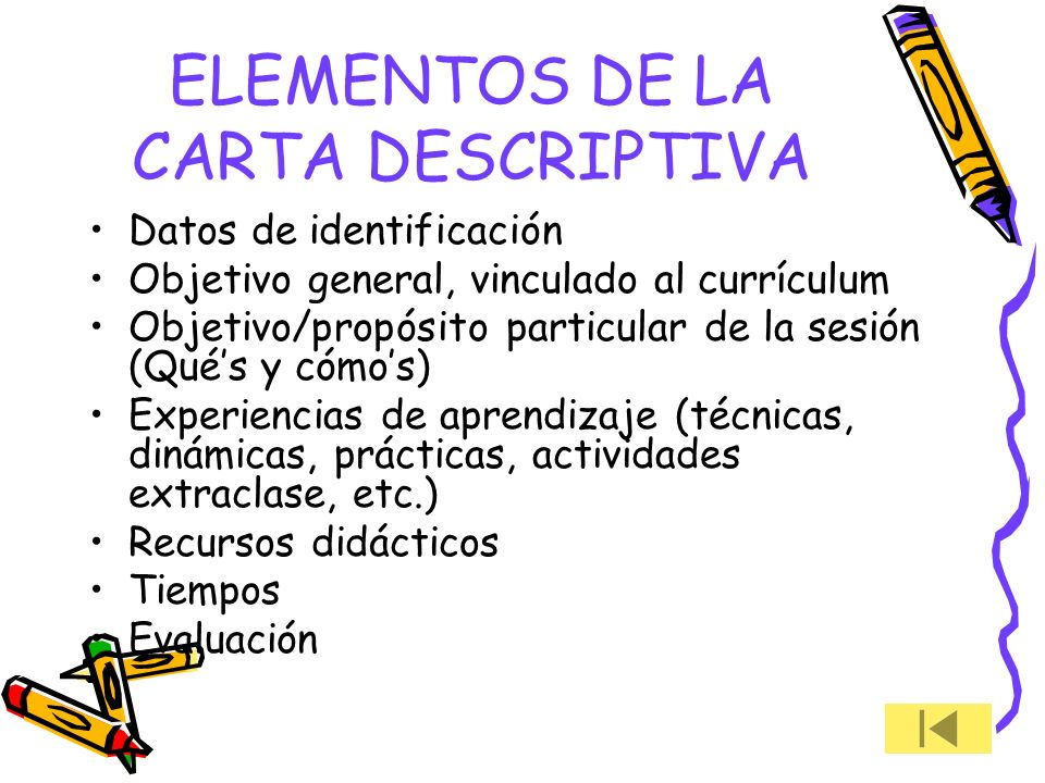 ELEMENTOS DE LA CARTA DESCRIPTIVA