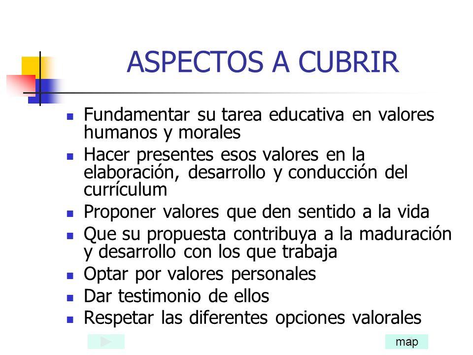 ASPECTOS A CUBRIR Fundamentar su tarea educativa en valores humanos y morales.