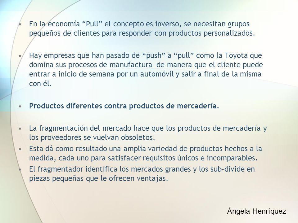 En la economía Pull el concepto es inverso, se necesitan grupos pequeños de clientes para responder con productos personalizados.