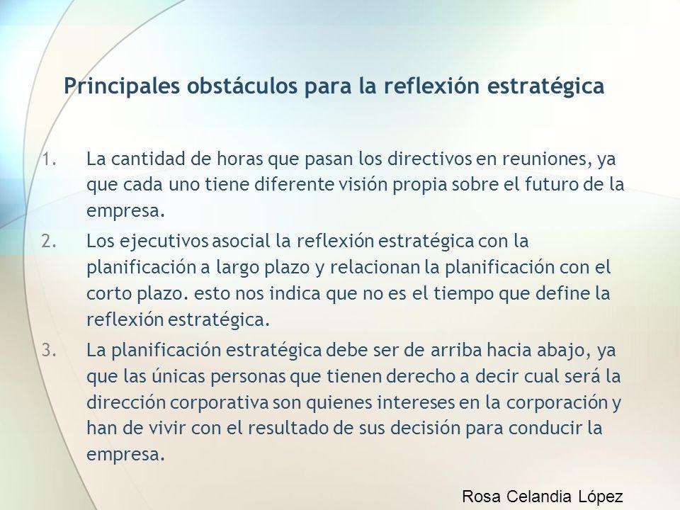 Principales obstáculos para la reflexión estratégica