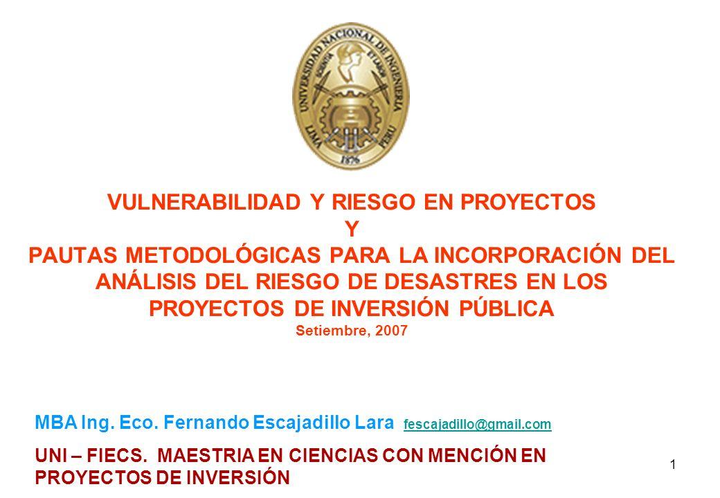 VULNERABILIDAD Y RIESGO EN PROYECTOS Y PAUTAS METODOLÓGICAS PARA LA INCORPORACIÓN DEL ANÁLISIS DEL RIESGO DE DESASTRES EN LOS PROYECTOS DE INVERSIÓN PÚBLICA Setiembre, 2007