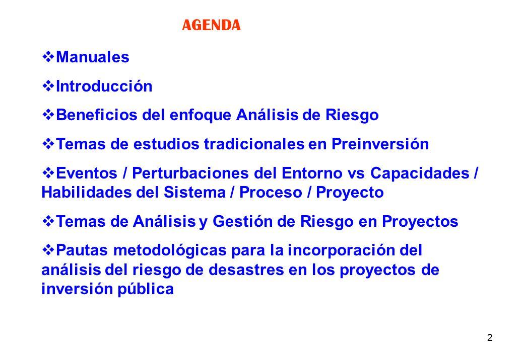 AGENDA Manuales. Introducción. Beneficios del enfoque Análisis de Riesgo. Temas de estudios tradicionales en Preinversión.