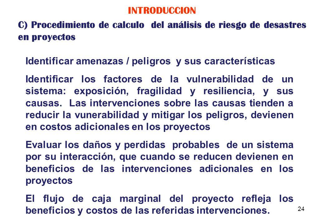 INTRODUCCION C) Procedimiento de calculo del análisis de riesgo de desastres en proyectos. Identificar amenazas / peligros y sus características.