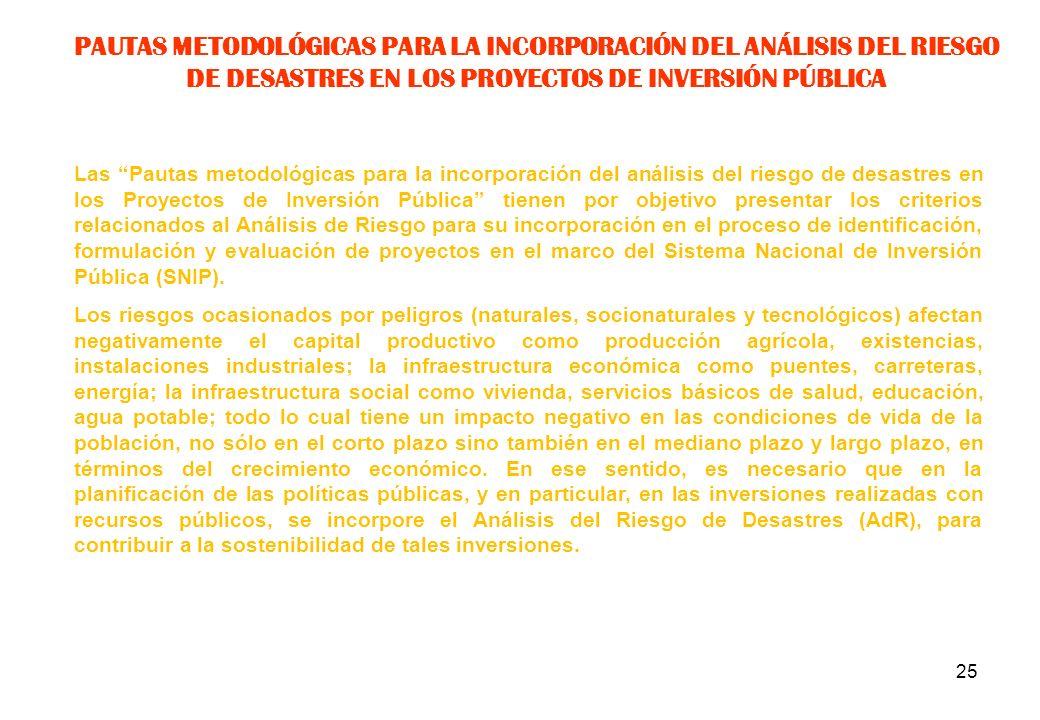 PAUTAS METODOLÓGICAS PARA LA INCORPORACIÓN DEL ANÁLISIS DEL RIESGO DE DESASTRES EN LOS PROYECTOS DE INVERSIÓN PÚBLICA