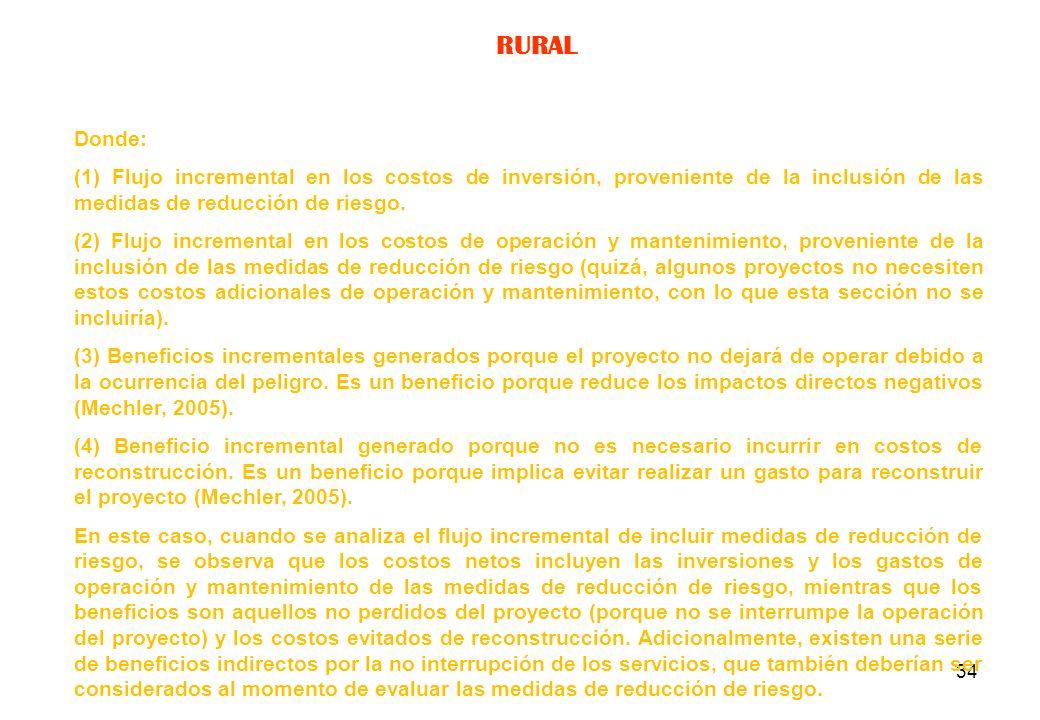 RURAL Donde: (1) Flujo incremental en los costos de inversión, proveniente de la inclusión de las medidas de reducción de riesgo.