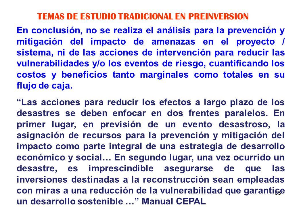 TEMAS DE ESTUDIO TRADICIONAL EN PREINVERSION
