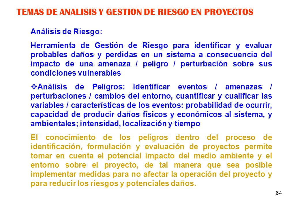 TEMAS DE ANALISIS Y GESTION DE RIESGO EN PROYECTOS