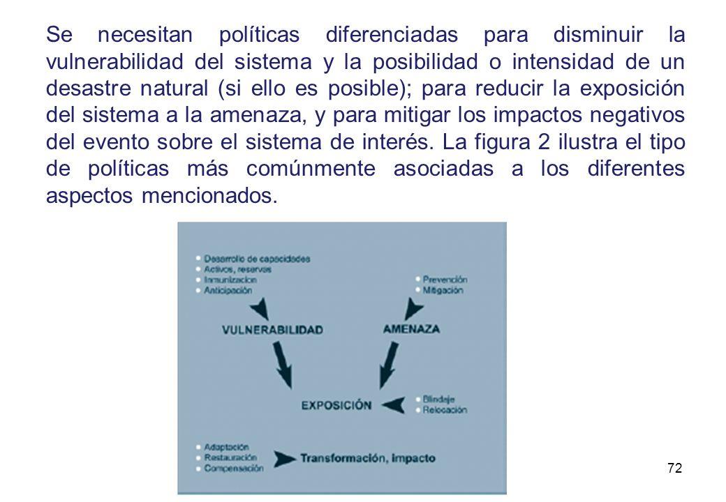 Se necesitan políticas diferenciadas para disminuir la vulnerabilidad del sistema y la posibilidad o intensidad de un desastre natural (si ello es posible); para reducir la exposición del sistema a la amenaza, y para mitigar los impactos negativos del evento sobre el sistema de interés.