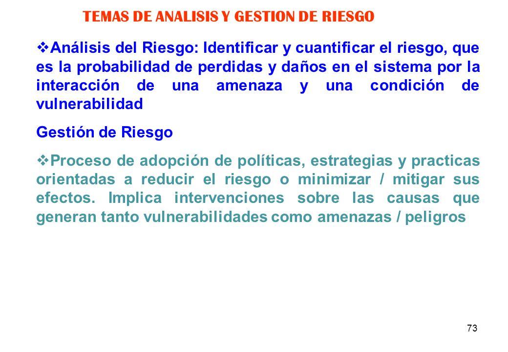 TEMAS DE ANALISIS Y GESTION DE RIESGO