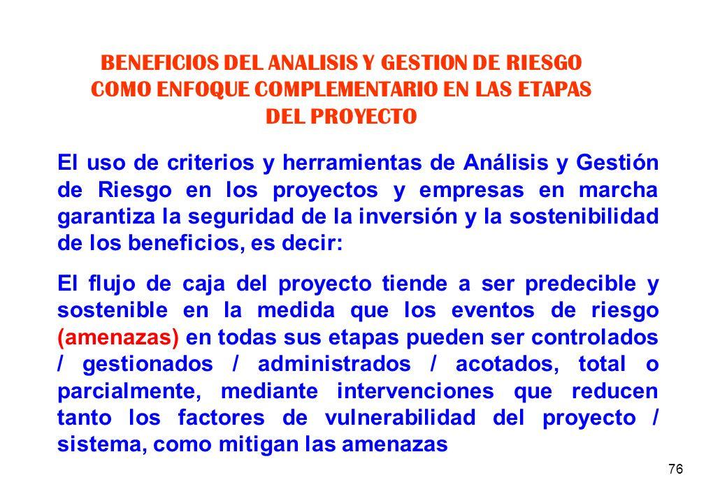 BENEFICIOS DEL ANALISIS Y GESTION DE RIESGO COMO ENFOQUE COMPLEMENTARIO EN LAS ETAPAS DEL PROYECTO