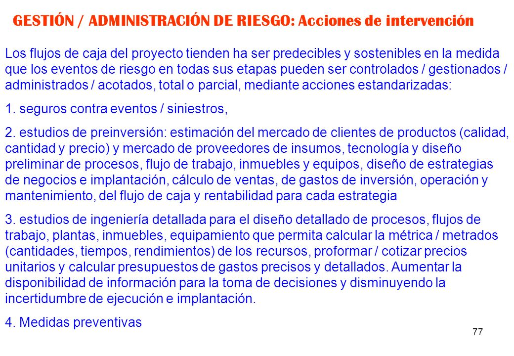 GESTIÓN / ADMINISTRACIÓN DE RIESGO: Acciones de intervención