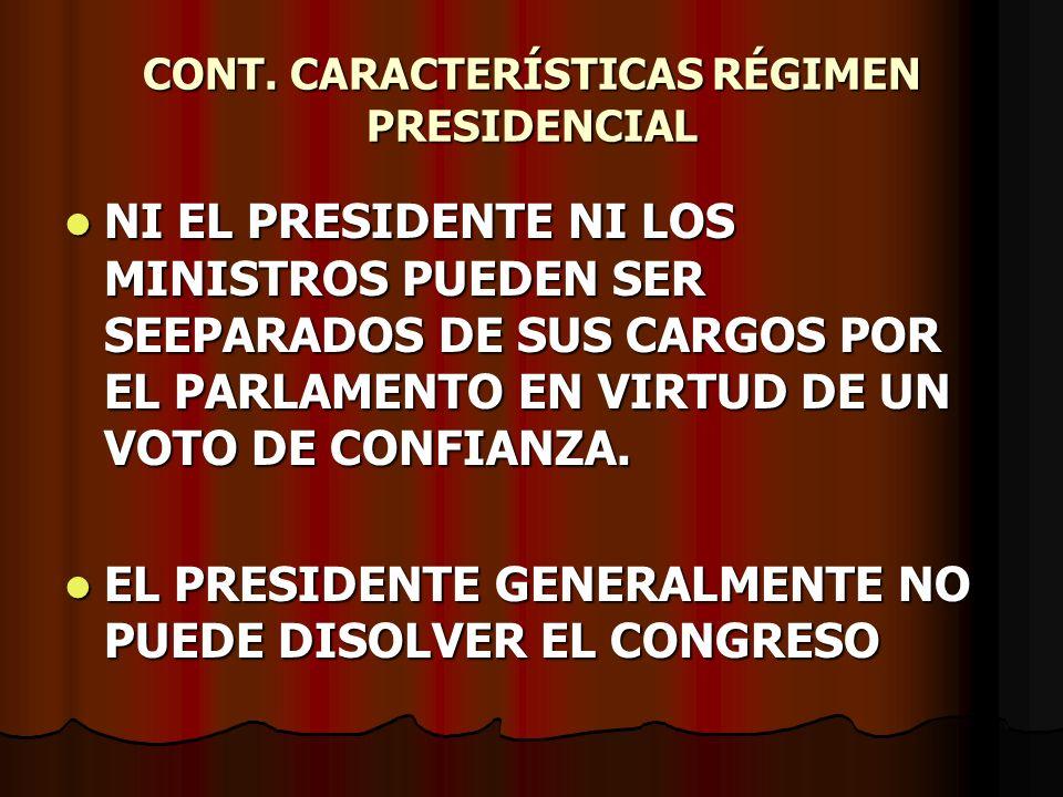 CONT. CARACTERÍSTICAS RÉGIMEN PRESIDENCIAL