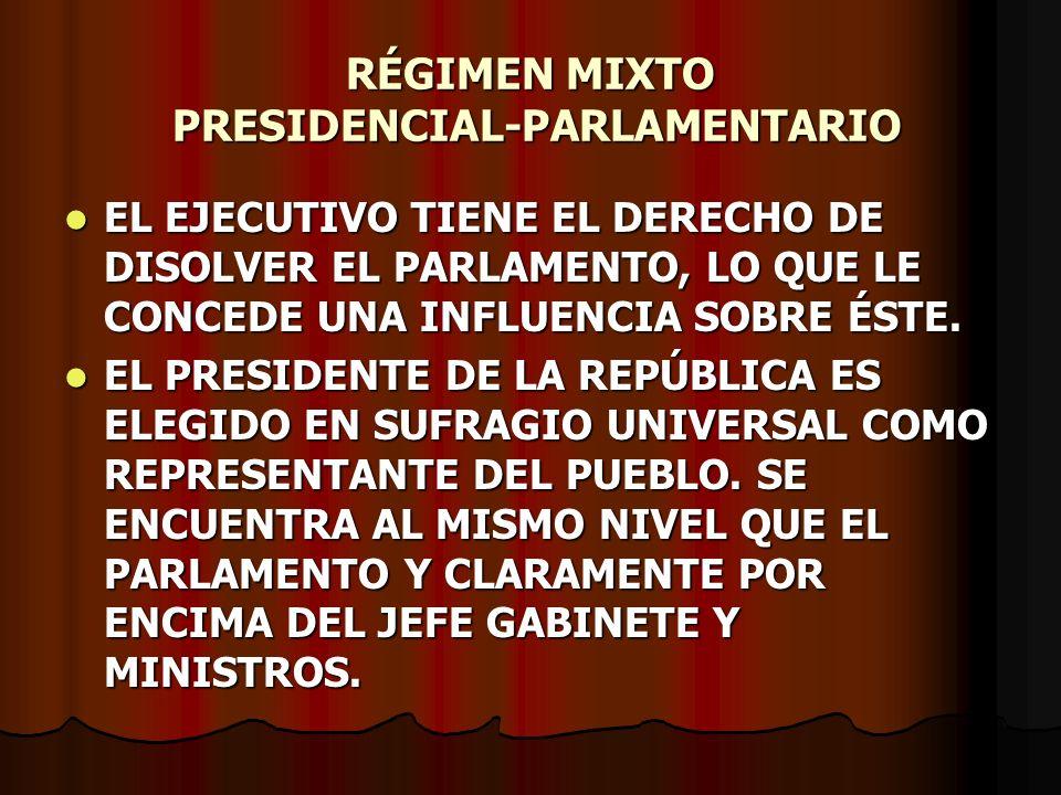 RÉGIMEN MIXTO PRESIDENCIAL-PARLAMENTARIO