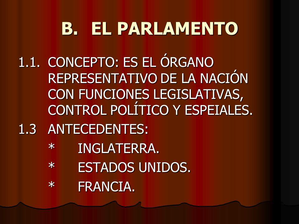 B. EL PARLAMENTO 1.1. CONCEPTO: ES EL ÓRGANO REPRESENTATIVO DE LA NACIÓN CON FUNCIONES LEGISLATIVAS, CONTROL POLÍTICO Y ESPEIALES.