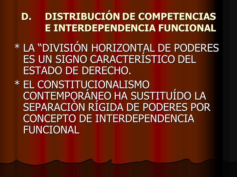 D. DISTRIBUCIÓN DE COMPETENCIAS E INTERDEPENDENCIA FUNCIONAL