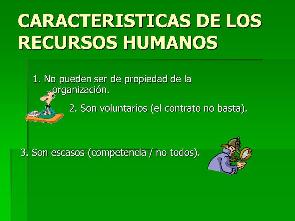 CARACTERISTICAS DE LOS RECURSOS HUMANOS
