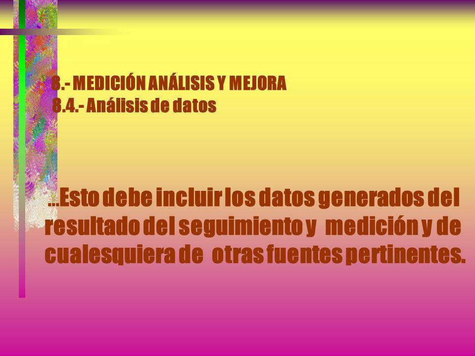 8. - MEDICIÓN ANÁLISIS Y MEJORA 8. 4. - Análisis de datos