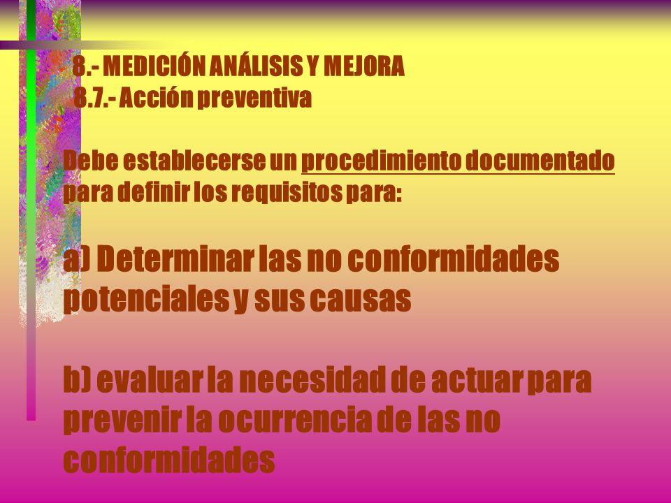8. - MEDICIÓN ANÁLISIS Y MEJORA 8. 7