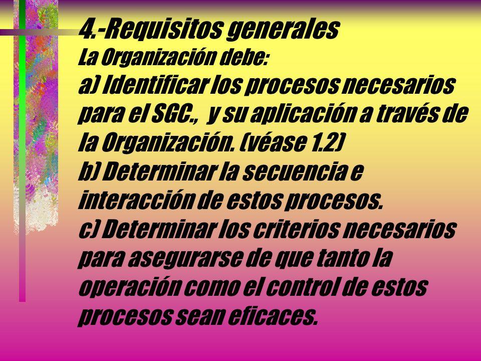 4.-Requisitos generales La Organización debe: a) Identificar los procesos necesarios para el SGC., y su aplicación a través de la Organización.