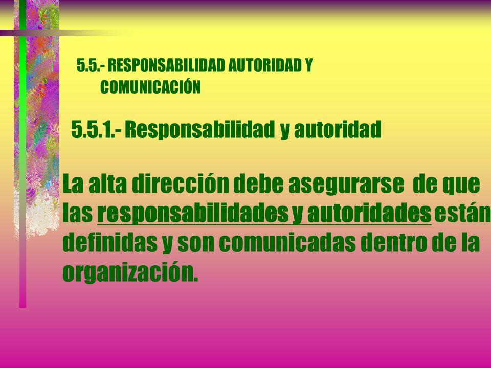 5. 5. - RESPONSABILIDAD AUTORIDAD Y COMUNICACIÓN 5. 5. 1
