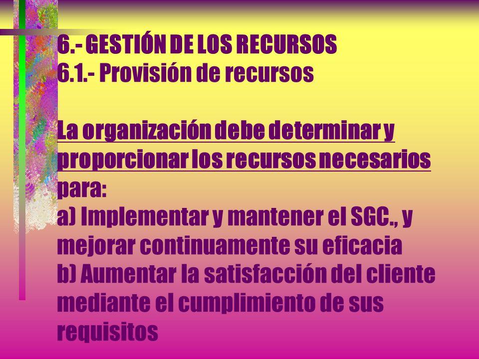 6. - GESTIÓN DE LOS RECURSOS 6. 1