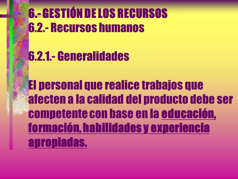 6. - GESTIÓN DE LOS RECURSOS 6. 2. - Recursos humanos 6. 2. 1