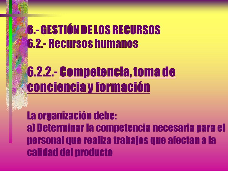 6. - GESTIÓN DE LOS RECURSOS 6. 2. - Recursos humanos 6. 2. 2