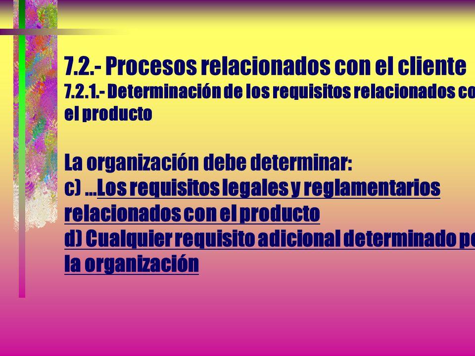 7. 2. - Procesos relacionados con el cliente 7. 2. 1