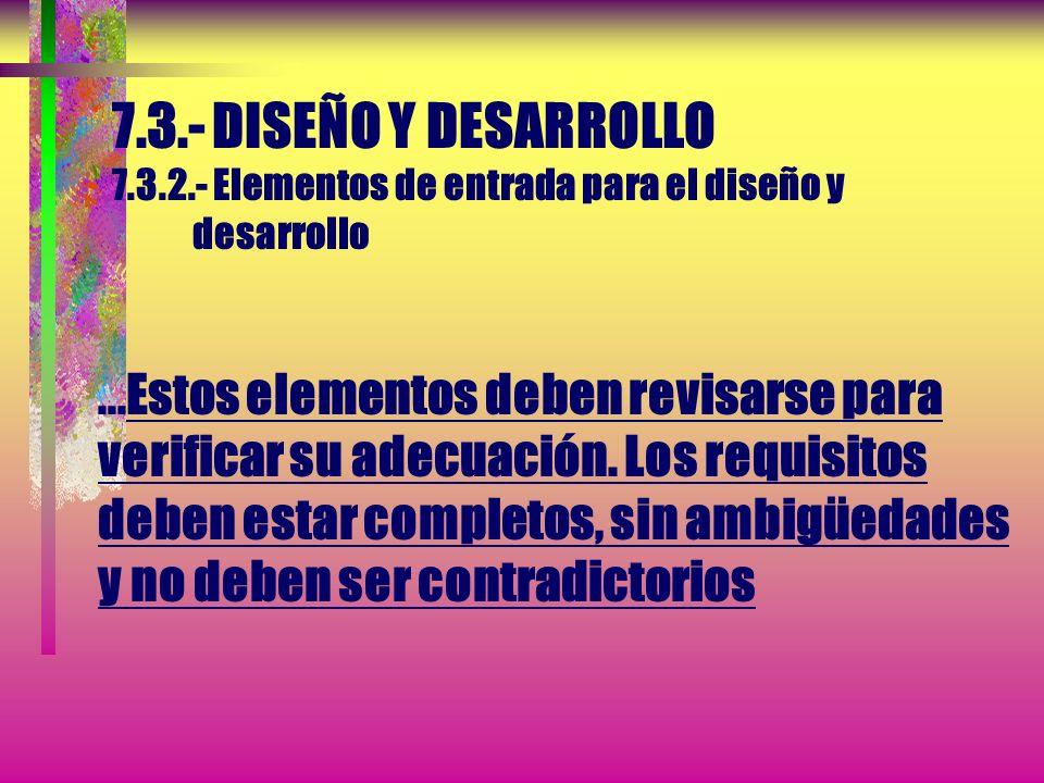 7.3.- DISEÑO Y DESARROLLO 7.3.2.- Elementos de entrada para el diseño y desarrollo ...Estos elementos deben revisarse para verificar su adecuación.